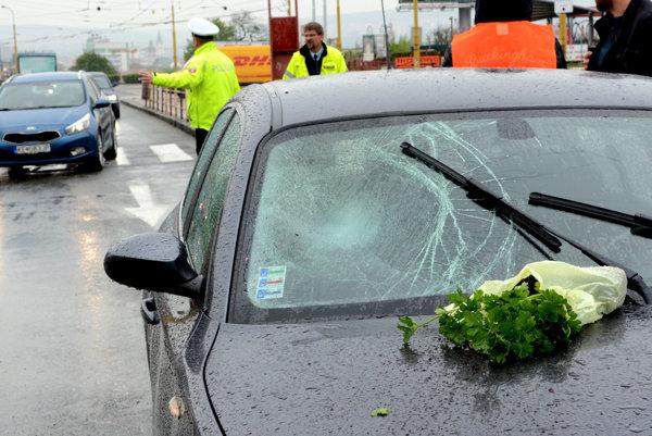Žena skončila v nemocnici, auto malo rozbité čelné sklo.