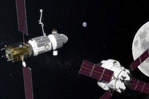Vizualizácia vesmírnej stanice Deep Space Gateway pri Mesiaci.