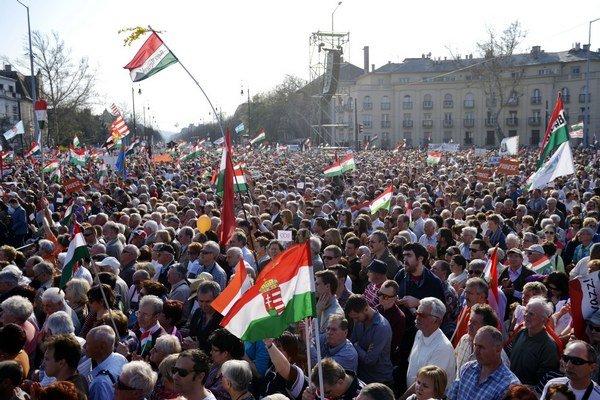 Míting priaznivcov vládnej strany Fidesz.