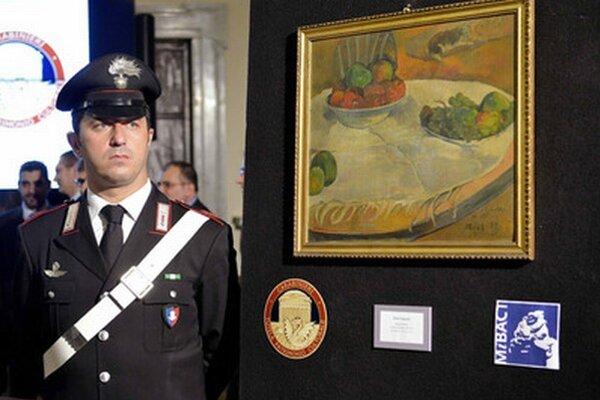 """Maľba s názvom """"Ovocie na stole alebo Zátišie s malým psom"""" od francúzskeho maliara Paula Gauguina."""