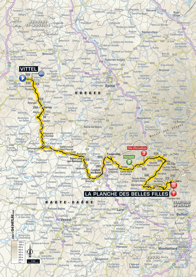 Mapa piatej etapy Tour de France 2017.