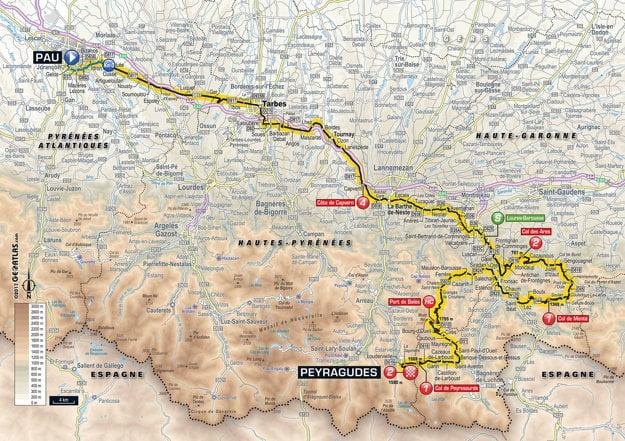 Mapa dvanástej etapy Tour de France 2017.