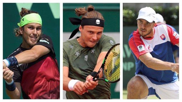 Lukáš Lacko (vľavo), Jozef Kovalík (uprostred) aj Andrej Martin sa predstavia na turnaji v Bratislave.