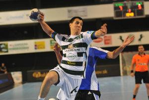 Štefan Jankovič (Prešov) počas tretieho zápasu finále extraligy mužov v hádzanej.