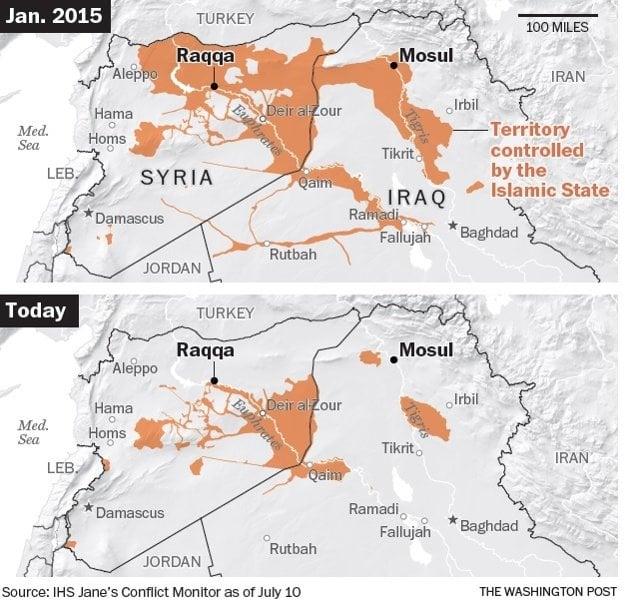Územia ovládané Islamským štátom v Sýrii a v Iraku.