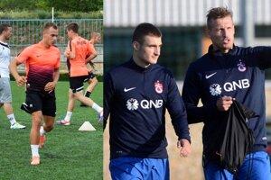 Morong a spol. sa tešia na zápas s tureckým Trabzonsporom. Na snímke Matúš Bero a Ján Ďurica.