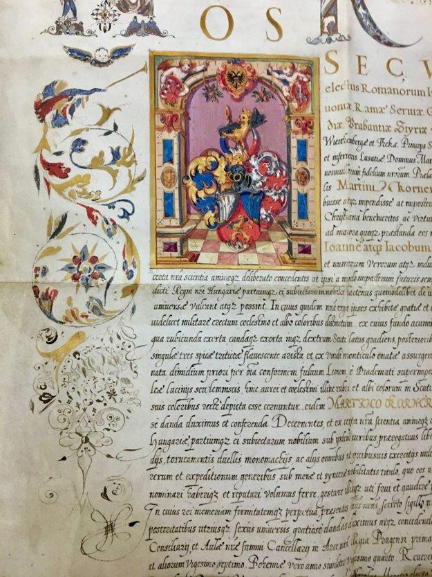 Listina Rudolfa II. Habsburského zroku 1599, ktorou dal erbMartinovi Kornélovi.