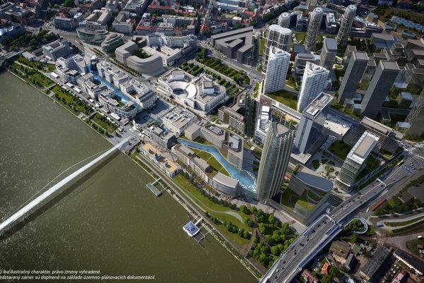 Vízia J & T Real Estate ako by malo vyzerať dunajské nábrežie do desiatich rokov.
