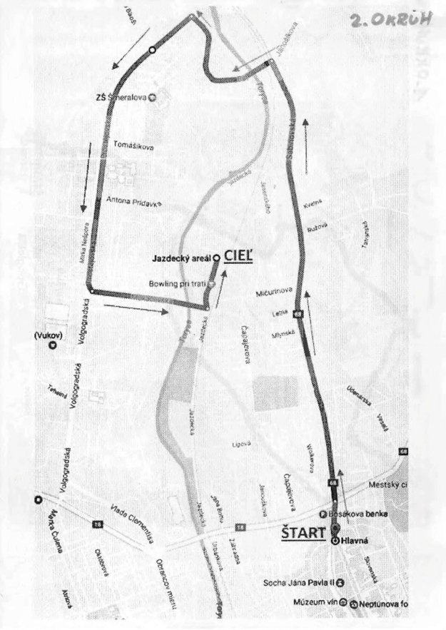 Druhý okruh povedie po Sabinovskej ulici a ďalej cez hlavný ťah Sídliska III s cieľom v jazdeckom areáli.