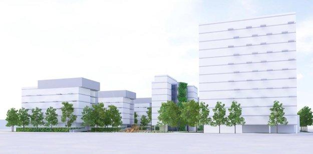 Projekt s dominantnou výškovou budovou. Takýto pohľad by sa mal naskytnúť ľuďom prichádzajúcim do mesta z juhovýchodnej strany.