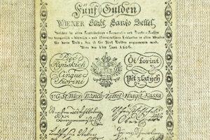Bankocetle v hodnote 5 guldenov z roku 1806.