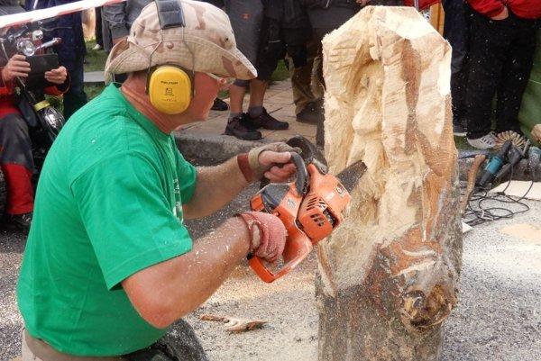 Len 40 minút času mala šestica umeleckých rezbárov zo Slovenska, Poľska a Česka na vytvorenie svojich drevených sôch. Netradičnou súťažou v rýchlorezbe dnes popoludní v ústí turisticky atraktívnej Jánskej doliny vyvrcholilo trojdňové podujatie Drevené kráľovstvo. Na snímke súťažiaci počas rýchlorezby.