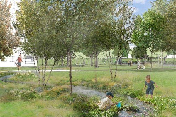 Víťazný návrh počíta s potokom priamo za panelákmi na Hlbokej.