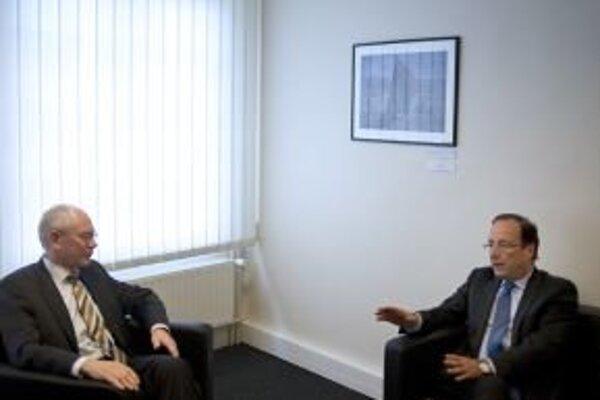 Francois Hollande a Herman Van Rompuy.