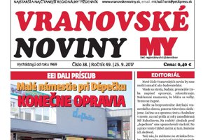 Titulná strana týždenníka Vranovské noviny č. 38/2017.