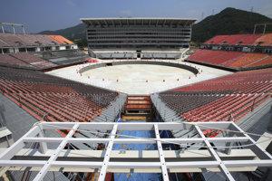 Výstavba štadióna, archívna snímka.