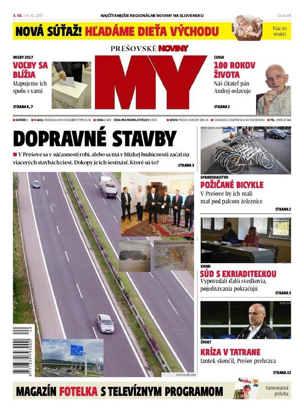 Titulná strana týždenníka MY Prešovské noviny č. 39/2017.