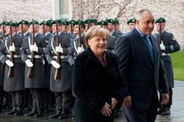 Nemecká kancelárka Angela Merkelová s bulharským premiérom Bojkom Borisovom.