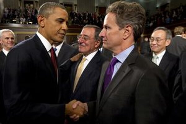 Timothy Geithner s prezidentom po prejave v Kongrese.