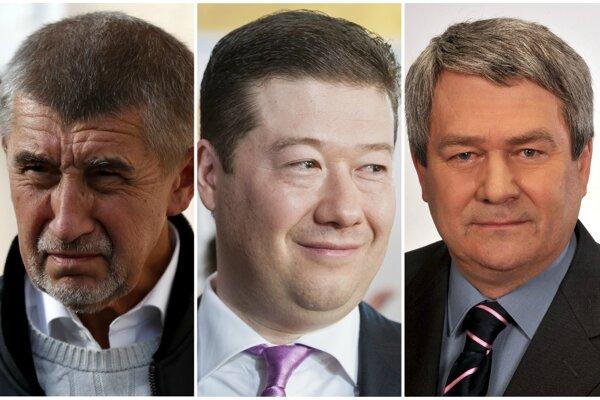 Zľava Andrej Babiš (ANO), Tomio Okamura (SPD) a Vojtěch Filip (KSČM).