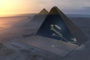 3D vizualizácia Cheopsovej pyramídy a jej skrytej miestnosti - vyznačená bielymi bodkami.