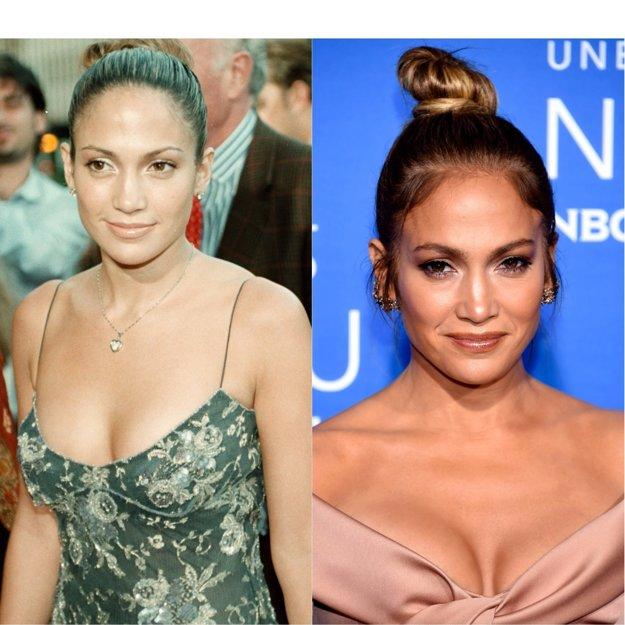 Jennifer Lopez v rokoch 1999 a 2017.