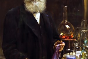 William Henry Perkin sa v roku 1856 vo svojej izbe snažil vyrobiť lacnejší liek proti malárii, syntetický chinín. Namiesto toho náhodou vytvoril prvé syntetické fialové farbivo z tmavej usadeniny, ktorá mu zostala po experimentovaní v nádobe.