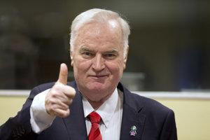 Generál armády Republiky srbskej Ratko Mladič pred prečítaním verdiktu.