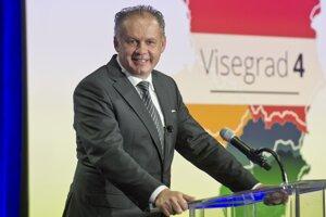 24. september - Andrej Kiska počas príhovoru na stredoeurópskom fóre V4 pre digitálnu ekonomiku v New Yorku.