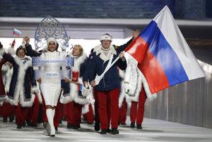Ruská výprava na otváracom ceremoniáli ZOH 2014 v Soči.