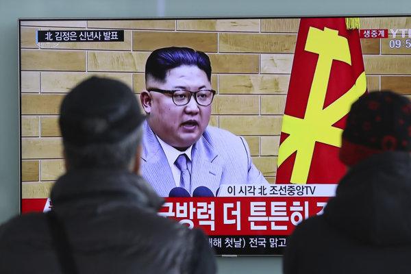 Kim Čong-un počas prejavu.