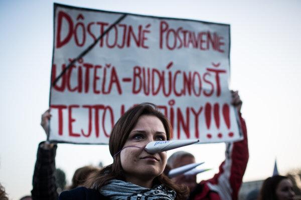 Protest bratislavských učiteľov.