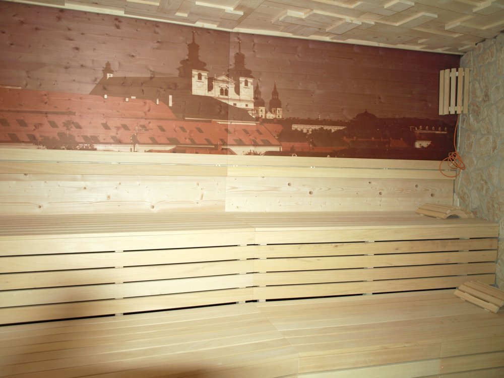 Sauna s motívom Trnavy.