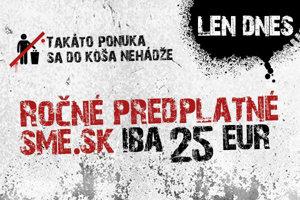 Ročné predplatné SME.sk iba za 25 eur.