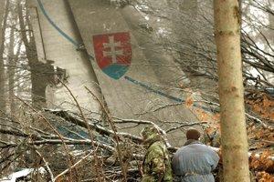Trosky havarovaného vojenského lietadla AN-24 pri obci Hejce v Maďarsku.