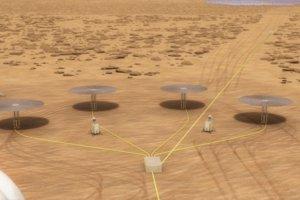 Ako by mohla vyzerať sústava reaktorov Kilopower na Marse.