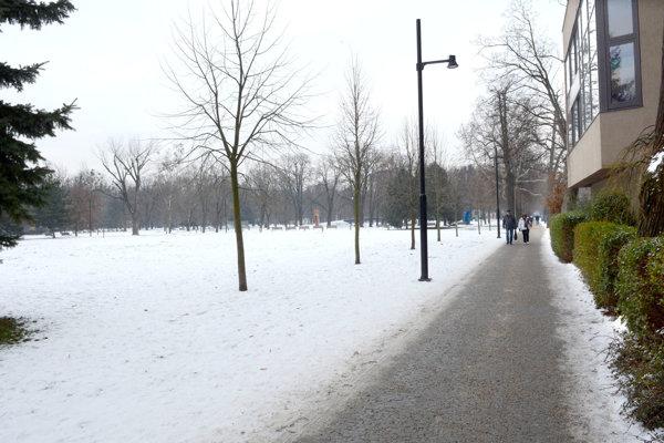 Pohľad od Rumanovej ulice. Súčasné vedenie mesta sa púšťa do stavebnej činnosti už aj naľavo od hlavného chodníka, križujúceho park. To si za vyše 100 rokov nikto nedovolil.