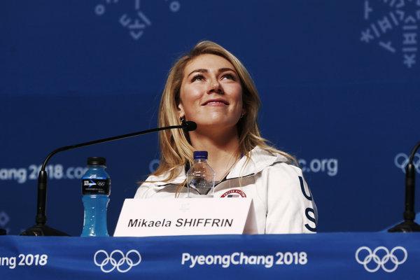 Mikaela Shiffrinová na tlačovej konferencii v Pjongčangu.