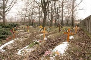 Sektor bezmenných sa nachádza v roku cintorína na pravo od hlavného vchodu.