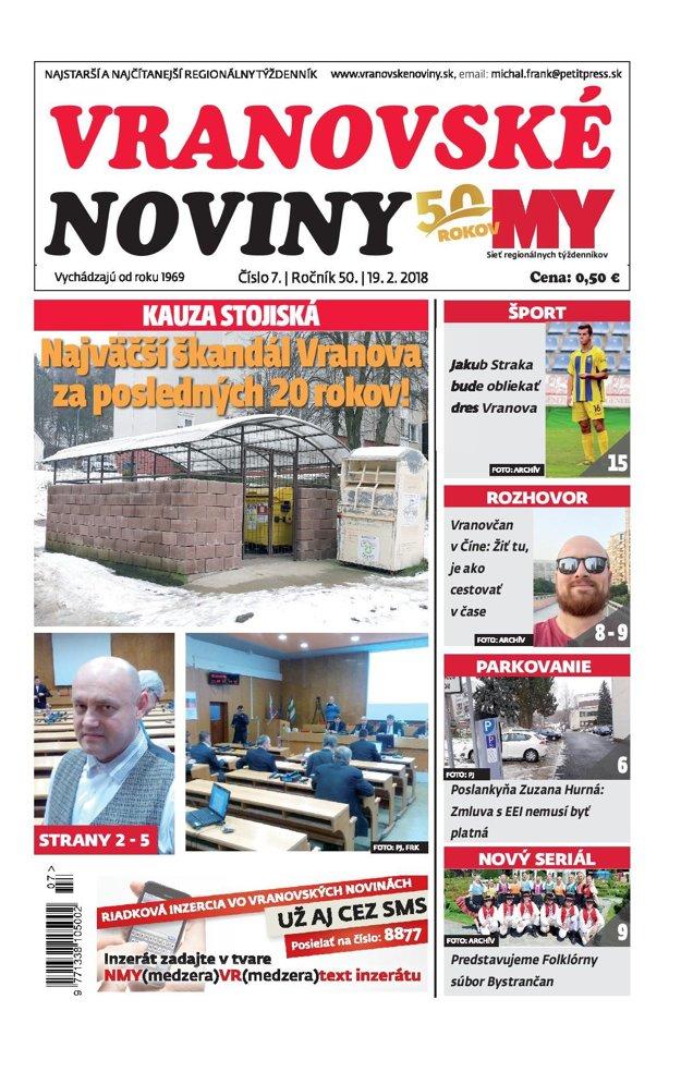 Titulná strana týždenníka Vranovské noviny č. 7/2018.