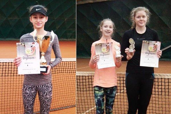 Zľava Ana Šabíková (Zl. Moravce), Michaela Gedayová (Slávia SPU Nitra) a Zaicová (Košice).