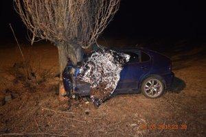 Vozidlo ostalo po náraze zdemolované.