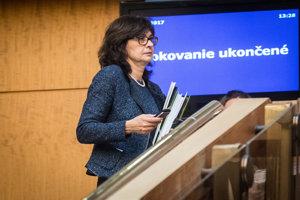 08. november 2017. Lucia Žitňanská počas rokovania vlády SR.