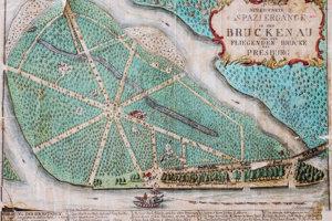 Historické vyobrazenie Sadu Janka Kráľa aj s lietajúcim mostom sa nachádza v Archíve mesta Bratislavy.