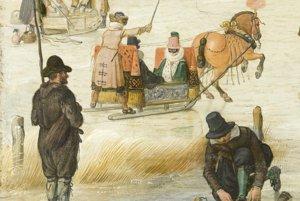 """Na veľkom detaile z Avercampovho obrazu Zimná scéna na zamrznutom kanáli z roku 1620 si postava v klobúku práve uväzuje ploché drevené korčule. V tom čase už """"podkuté"""" kovovými plátmi."""