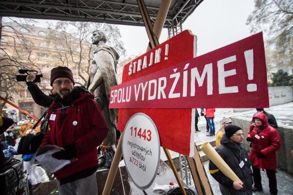 Štrajk učiteľov v Bratislave.