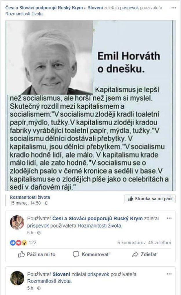 Zrecyklovaný vymyslený výrok s menom Emila Horvátha.