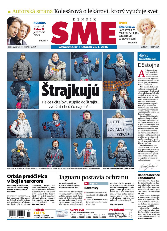 Viac o štrajku učiteľov aj v tlačenom vydaní SME v utorok 26.1.