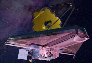 Umelecké zobrazenie Vesmírneho teleskopu Jamesa Webba.