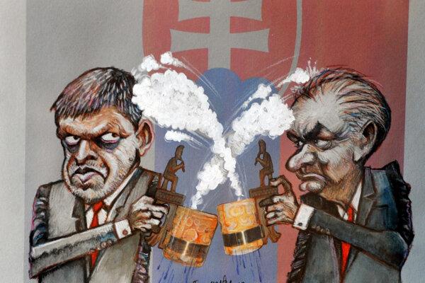Kresba, ktorej autorom je víťaz ceny Igora Ševčíka Slovák Fero Mráz počas 24. ročníka medzinárodnej súťaže karikaturistov na tému pivo a vernisáže Zlatý súdok 2018 v Šarišskej galérii v Prešove.